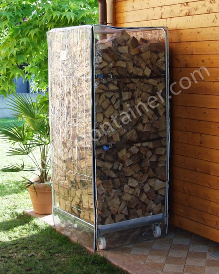 Acquista online carrello porta legna da esterno in acciaio for Contenitori da esterno