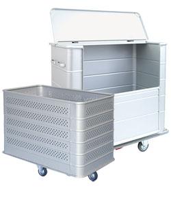 Contenitori in alluminio e carrelli portabiancheria