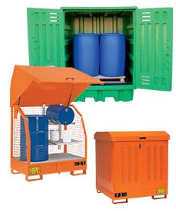 Depositi di stoccaggio e armadi da esterno per fusti