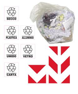 Sacchi spazzatura, adesivi raccolta differenziata e accessori per bidoni e cassonetti