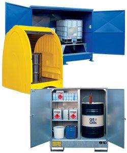 Container, armadi e depositi di stoccaggio da esterno in acciaio e polietilene