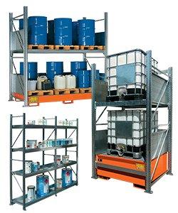 Scaffali metallici per lo stoccaggio di fusti, cisterne e contenitori
