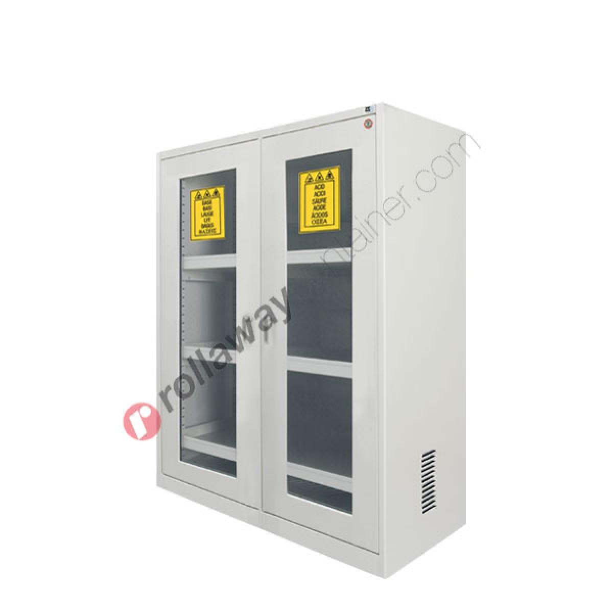 Armadio per prodotti chimici non infiammabili con 2 ante a vetro 1140 x 600  H 1600 mm Top Line