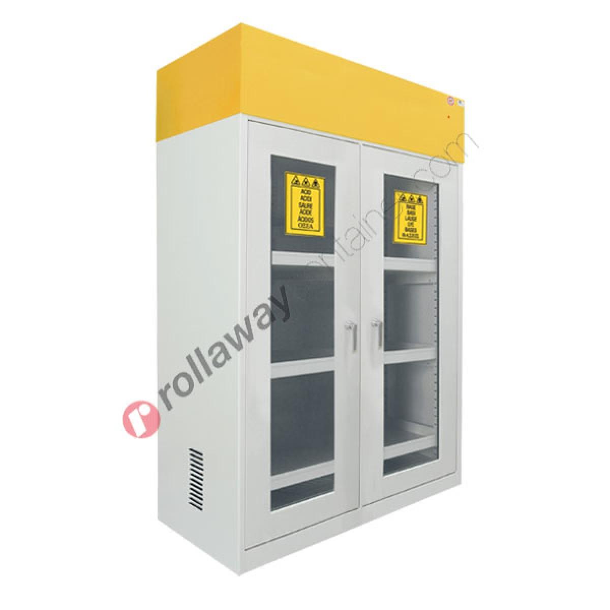 Armadio per prodotti chimici non infiammabili con 2 ante a vetro e  aspiratore 1140 x 600 H 1900 mm Top Line