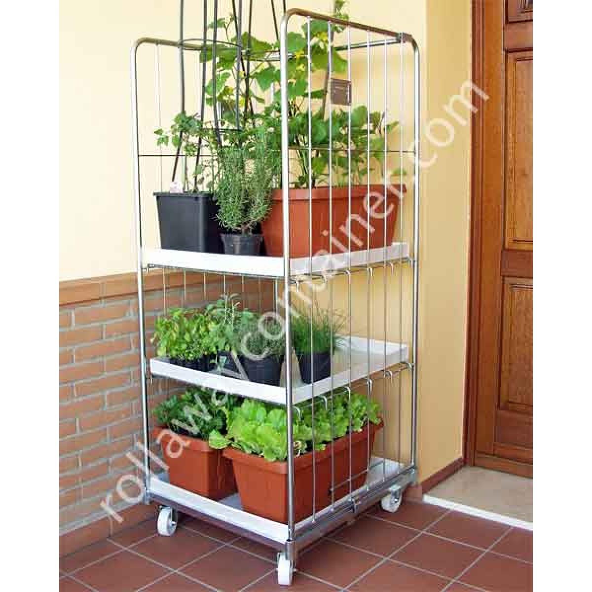 Serra da balcone o terrazzo in acciaio con ruote per ortaggi e piante