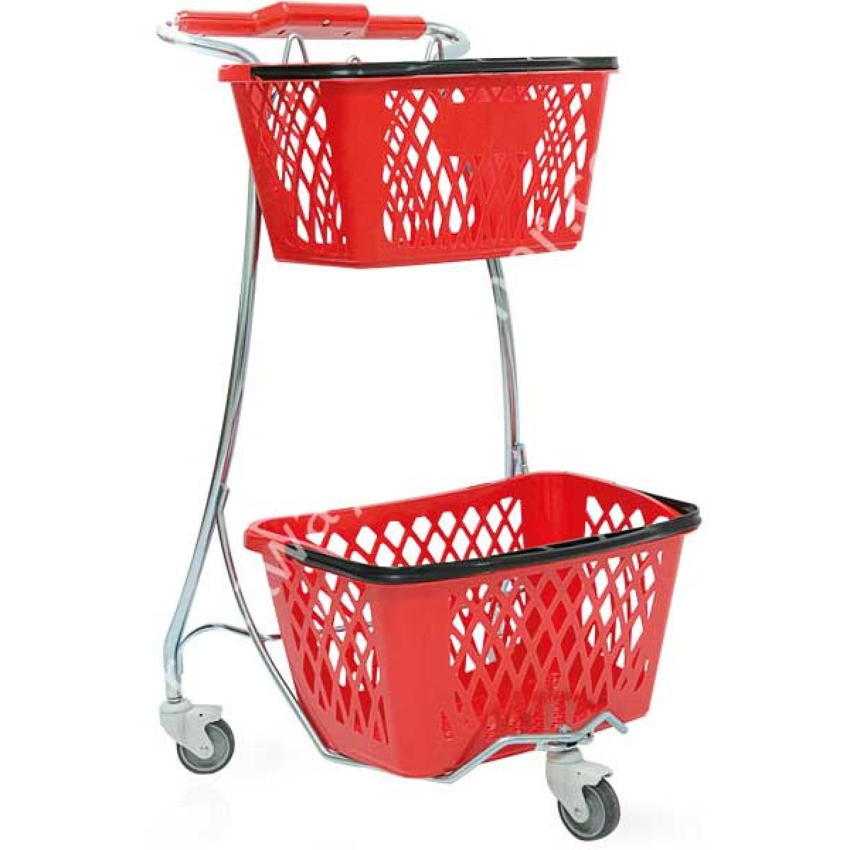 Carrello spesa in acciaio porta cestini in plastica per for Carrello porta ombrellone e sdraio