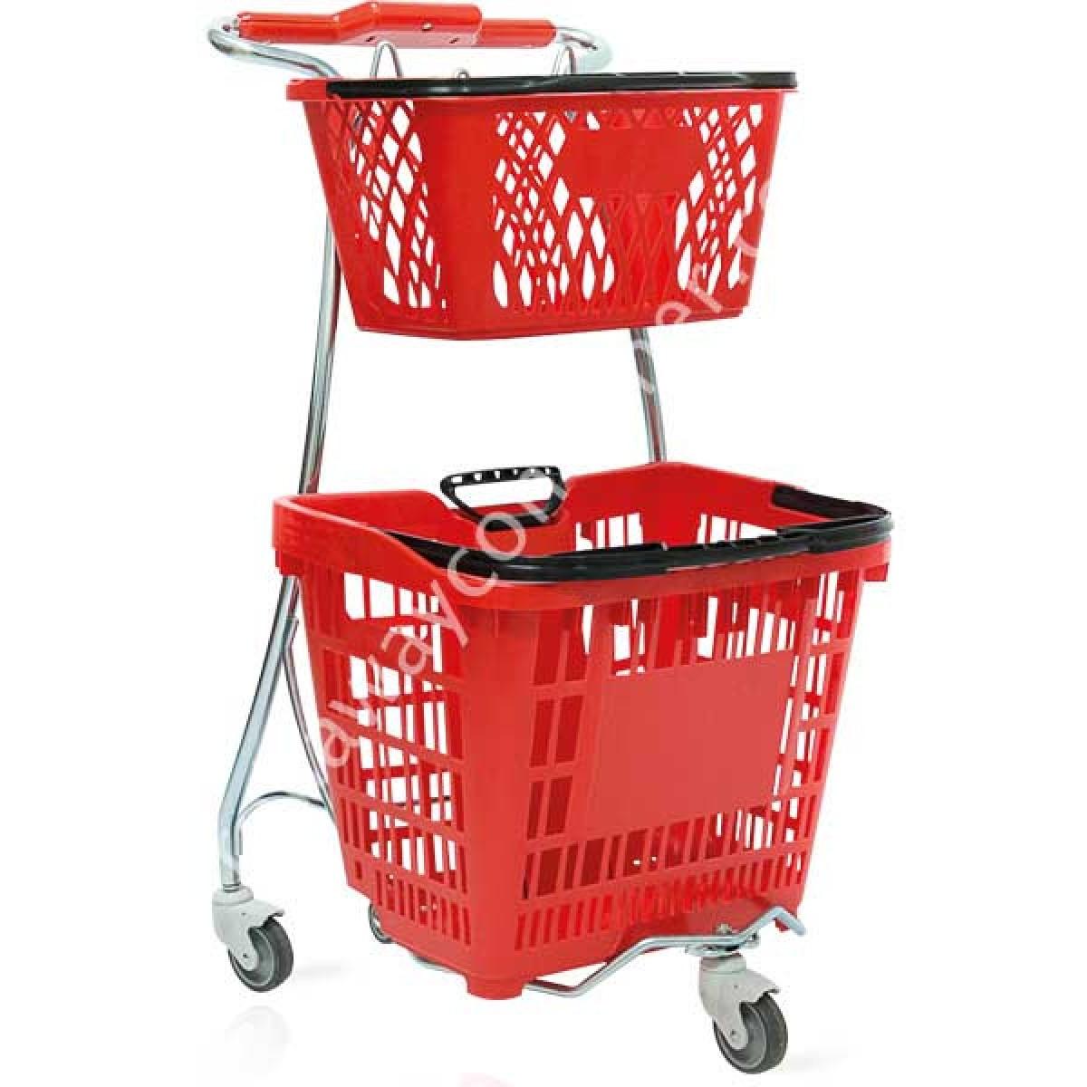 Carrello spesa in acciaio porta cestini in plastica per for Carrello portalegna da arredamento