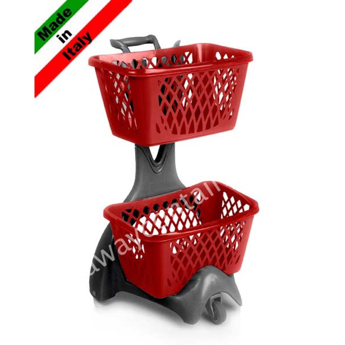 Carrello spesa porta cestini in plastica per supermercato for Carrello portalegna da arredamento