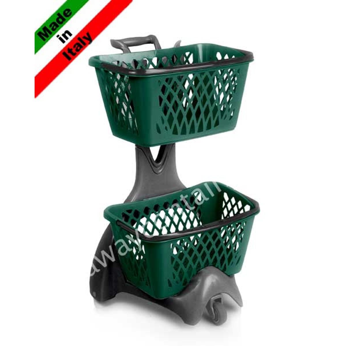 Carrello spesa porta cestini in plastica per supermercato e negozio