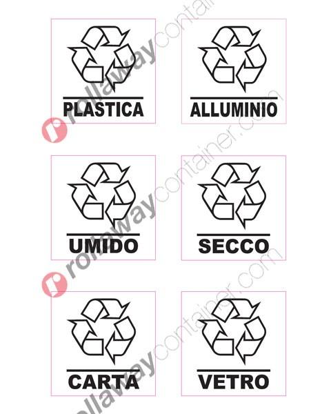Adesivi per bidoni e cassonetti raccolta differenziata rifiuti
