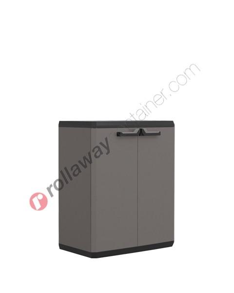 Armadietto in plastica cm 68 x 39 x 83 grigio e nero
