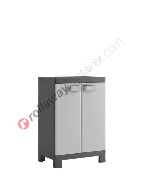 Armadietto in plastica rialzato cm 65 x 45 x 97 grigio e nero