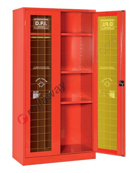 Armadio porta DPI antincendio con tramezza e 2 ante frangibili 1000 x 500 H 2000 mm