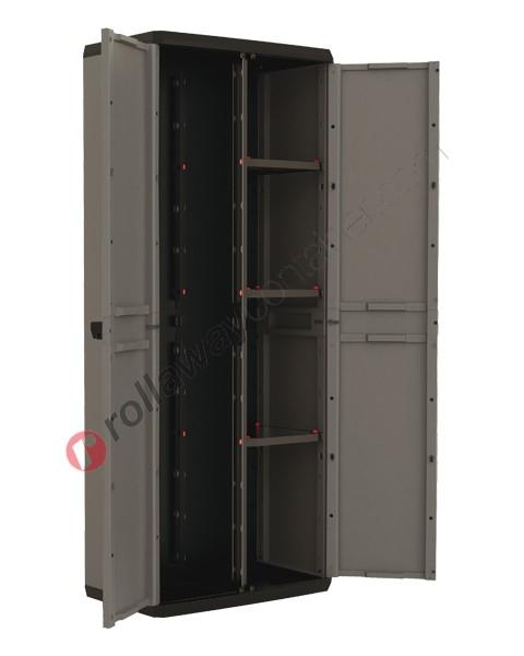 Armadio portascope da interno cm 68 x 39 x 166 grigio scuro e nero