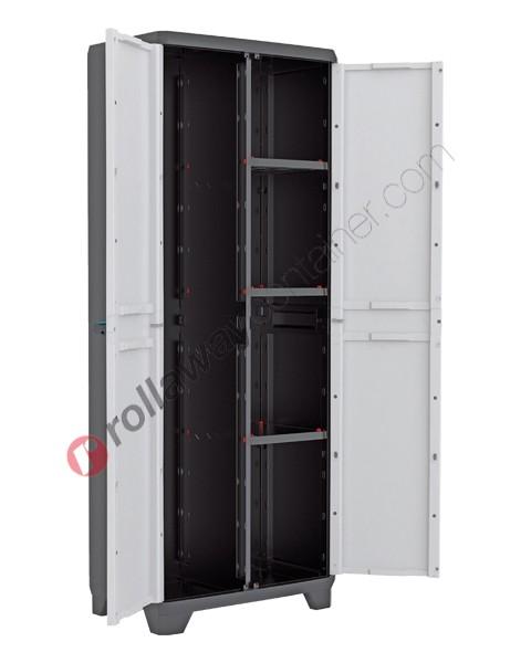Armadio portascope da interno rialzato cm 68 x 39 x 173 grigio chiaro e nero