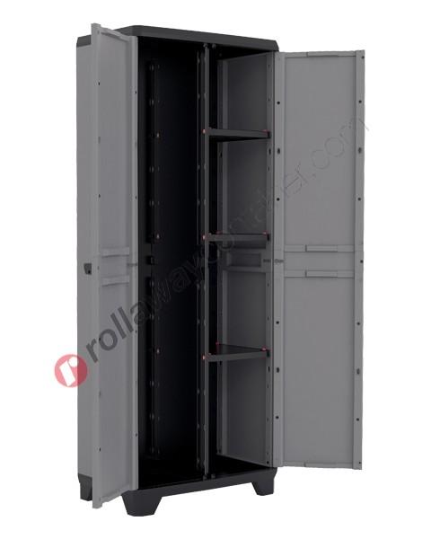 Armadio portascope da interno rialzato cm 68 x 39 x 173 grigio scuro e nero