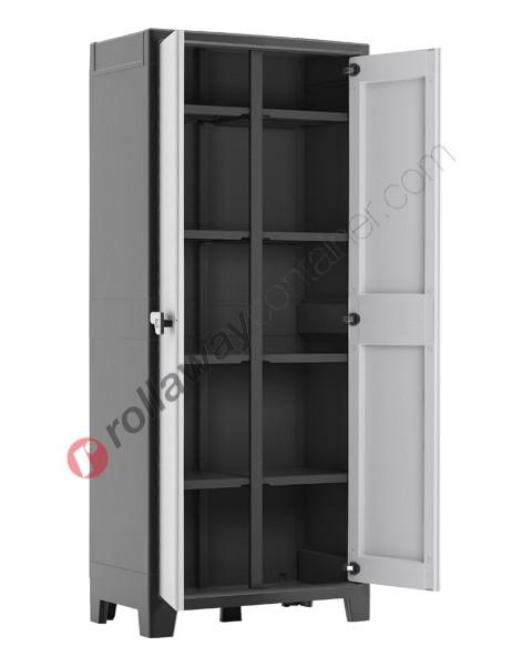 Armadio portascope da interno rialzato cm 80 x 44 x 182 grigio e nero