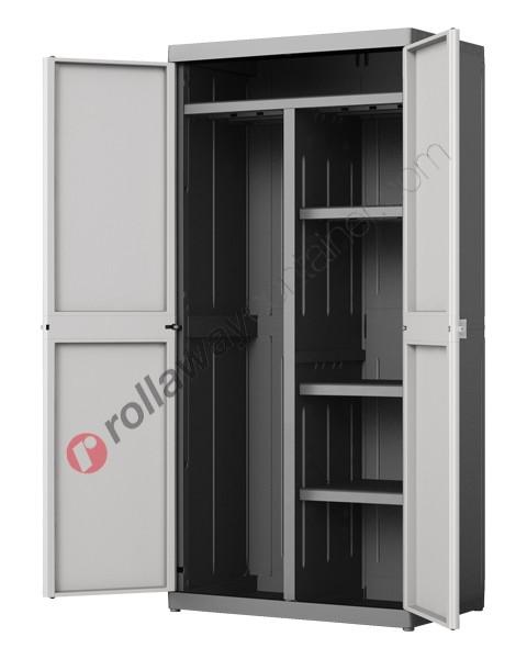 Armadio portascope da interno cm 89 x 54 x 182 grigio e nero