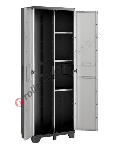Armadio portascope da interno rialzato cm 68 x 39 x 182 grigio e nero