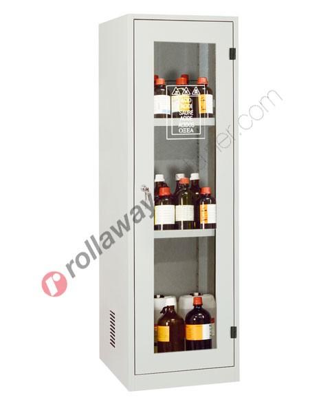 Armadio per prodotti chimici non infiammabili con anta a vetro 600 x 600 H 1950 mm