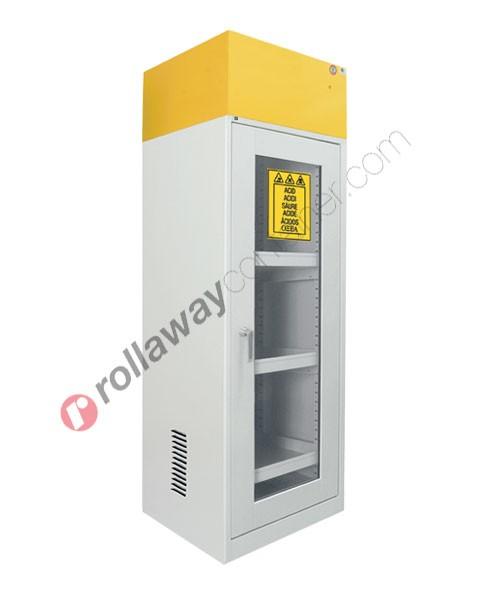 Armadio per prodotti chimici non infiammabili con anta a vetro e aspiratore 600 x 600 H 1900 mm Top Line