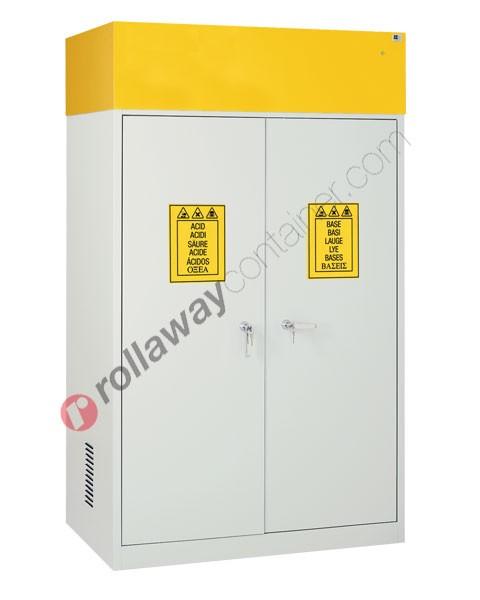 Armadio per prodotti chimici non infiammabili con 2 ante cieche e aspiratore 1140 x 600 H 1900 mm Top Line