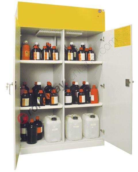 Armadio per prodotti chimici non infiammabili idrofugo con 2 ante cieche con aspiratore 1140 x 600 H 1960 mm
