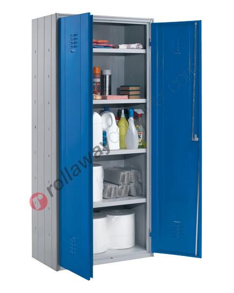 Armadio ufficio in metallo H 180 cm 2 ante 4 ripiani con serratura