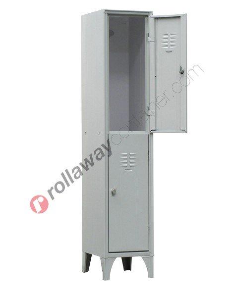 Armadietto spogliatoio in metallo 2 ante sovrapposte con serratura