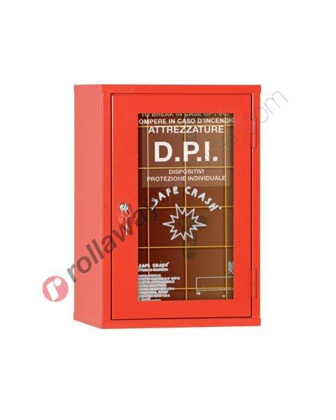 Armadio porta DPI e antincendio con anta frangibile 370 x 275 H 545 mm chiuso