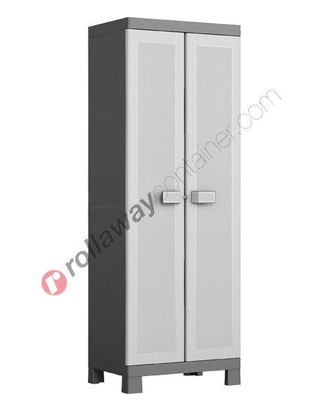 Armadio in plastica rialzato cm 65 x 45 x 182 grigio e nero