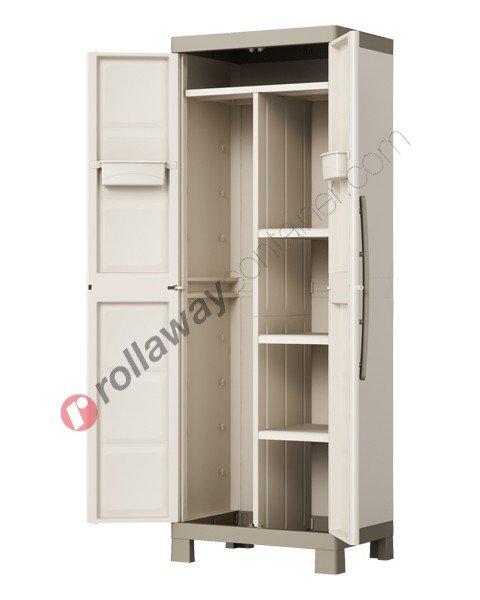 Armadio portascope da interno rialzato cm 65 x 45 x 182 beige e grigio talpa