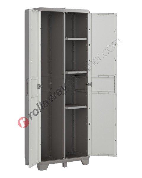 Armadio portascope da interno rialzato cm 68 x 39 x 182 grigio e grigio scuro