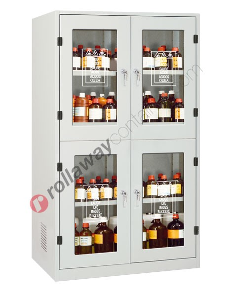 Armadio per prodotti chimici non infiammabili con 4 ante a vetro 1140 x 600 H 1950 mm