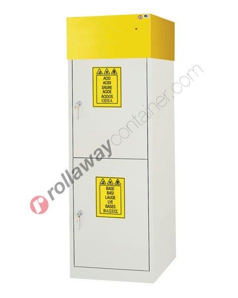 Armadio per prodotti chimici non infiammabili idrofugo con 2 ante cieche e aspiratore 600 x 600 H 1900 mm