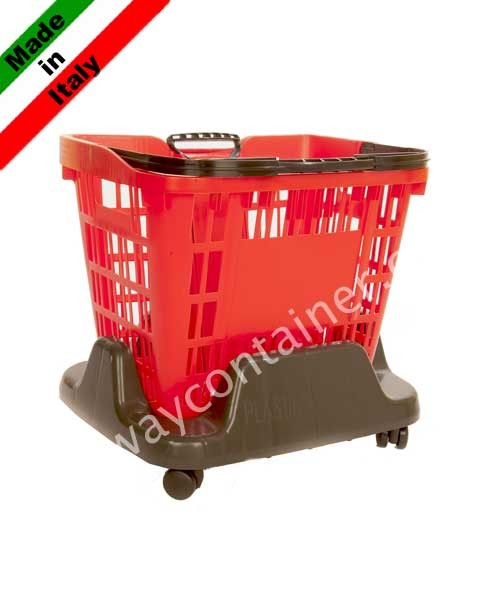 Base carrellata in plastica porta cesti spesa da 33 e 45 litri
