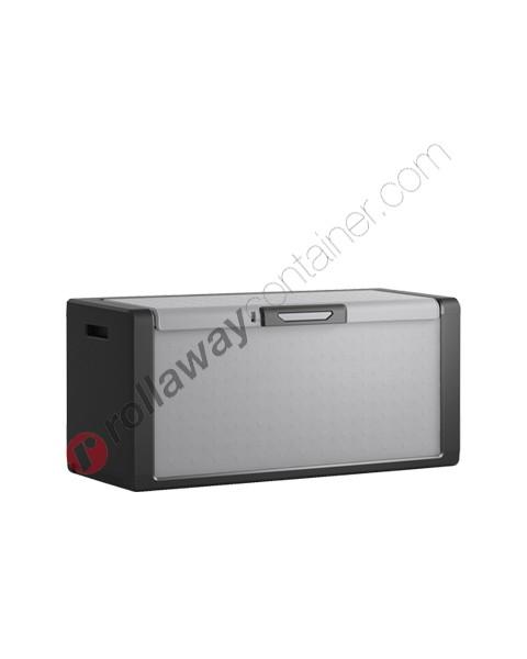 Baule in plastica resina da esterno cm 118 x 55 x 49 grigio e nero