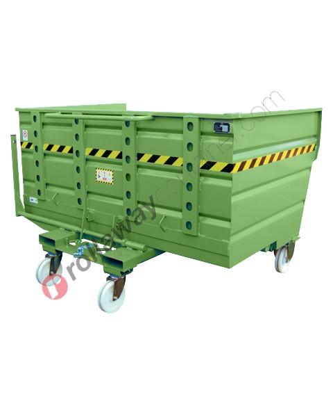 Benna ribaltabile per muletto con 4 ruote e rinforzi portata 2000 kg