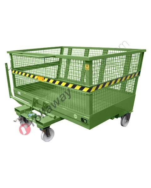 Benna ribaltabile per muletto in rete con 4 ruote portata 2000 kg