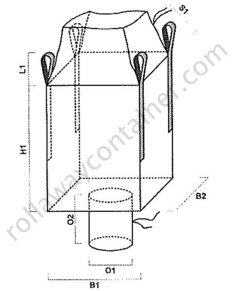 Big bag antispanciamento per pallet con apertura a caramella e valvola di scarico