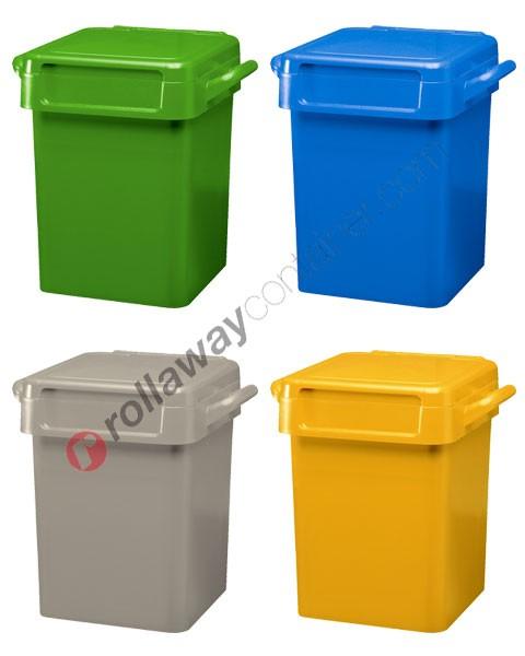Bidoni spazzatura differenziata da 50 litri con maniglie per svuotamento manuale