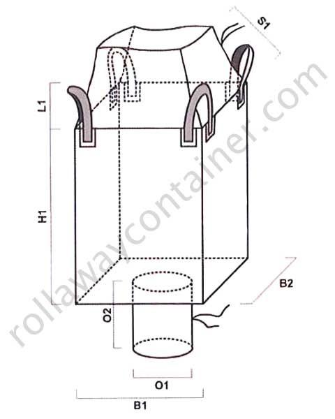 Big bag tubolare con apertura a caramella e valvola di scarico