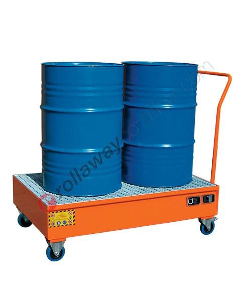 Carrello portafusti olio con vasca di contenimento in acciaio verniciato 1340 x 850 x 1170 mm