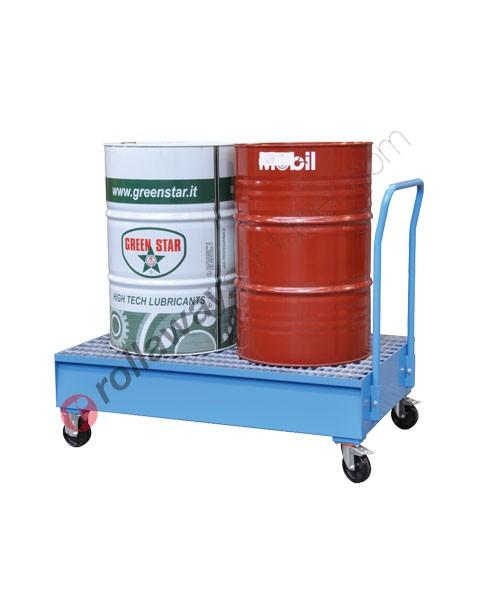 Carrello portafusti olio con vasca di contenimento da 320 litri in acciaio zincato e verniciato 1425 x 875 x 1155 mm