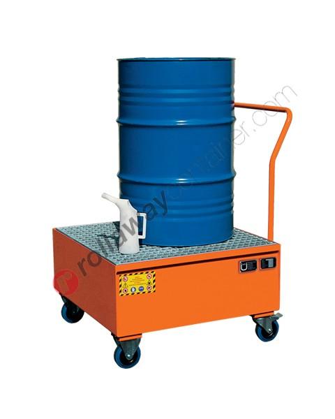 Carrello portafusti olio con vasca di contenimento in acciaio verniciato 860 x 860 x 1170 mm