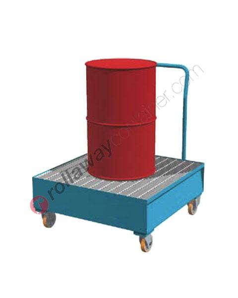 Carrello portafusti olio con vasca di contenimento da 320 litri in acciaio zincato e verniciato 940 x 1010 x 1160 mm
