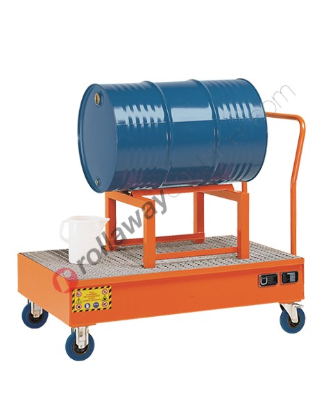 Carrello portafusti olio con supporto e vasca di contenimento in acciaio verniciato 1340 x 850 x 1170 mm