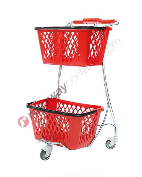 Carrello porta cestini spesa in acciaio