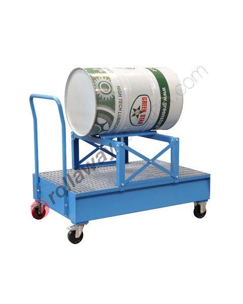Carrello portafusti olio con supporto e vasca di contenimento da 320 litri in acciaio zincato e verniciato 1425 x 880 x 1155 mm