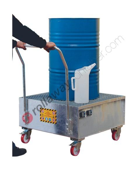 Carrello portafusti olio con vasca di contenimento in acciaio zincato 860 x 860 x 1170 mm